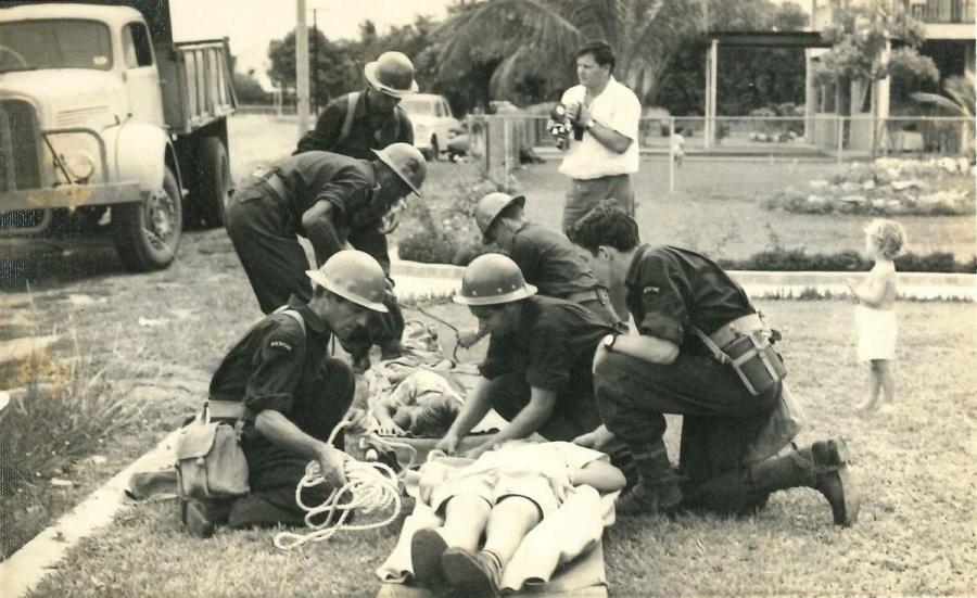 Stretcher rescue simulations circa 1965-66