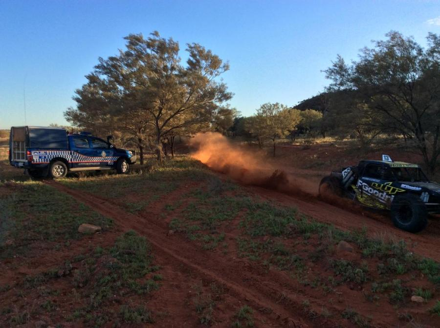Finke desert race with police car image