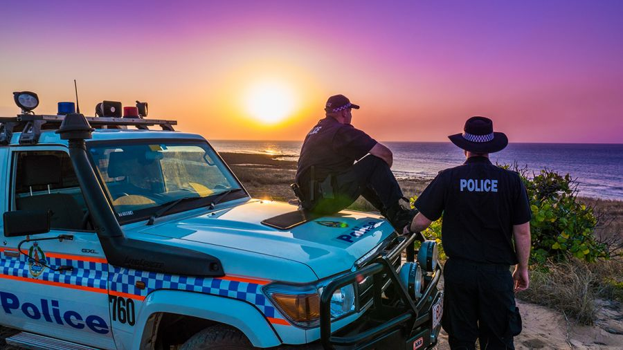 Elcho sunset and police car